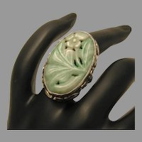 Vintage Jade Jadeite Carved Sterling Ring marked