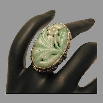 Vintage Jade Jadeite Carved Sterling Ring marked