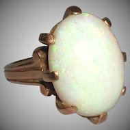 Elegant Victorian Rose Gold 14k Large White Milky Oval Opal unmarked late 1800s