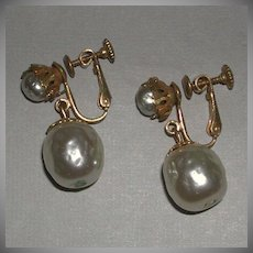 Classic Faux Baroque Pearl Drop Screw Back Earrings signed Haskell marked
