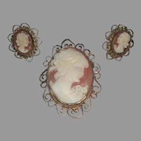 Petite Filigree 1/20 12k GF Cameo Pin Pendant Pierced Earrings Demi Parure Set marked L'F