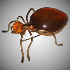 Honey Amber Six Legged Insect Pin Brooch Russian marked