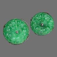 Imperial Green Round Carved Jade Jadeite Sterling Screw Back Earrings early 1900s