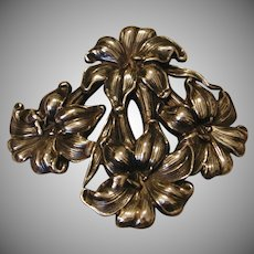 Sterling Silver Belt Buckle Floral La Pierre Manufacturing Co. marked c. 1930s