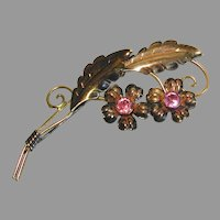 Van Dell 1/20 12k Gold Filled Sterling Floral Pin Brooch marked