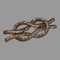Victorian Rope Love Knot Motif Pin Brooch Gold Filled c Clasp Tube Hinge