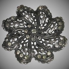 Victorian Silver Plate Faceted Paste Stones Ornate Pin Brooch c Clasp Tube Hinge
