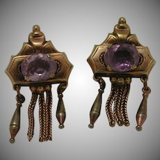 Victorian Etruscan Style Pinchbeck/Gold Plated Screw Back Earrings c. 1870