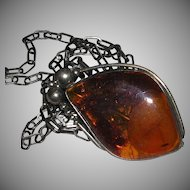 "Vintage Large Butterscotch Amber Pendant Necklace Pin Brooch Sterling Chain 29"" marked"