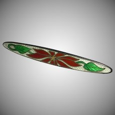 Victorian Cloisonne Enamel Sterling Bar Pin Red Poinsettia Motif c. 1900