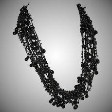 Vintage Black Enamel Twelve Strand Multi Bead Lace Effect Necklace