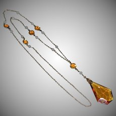 Early Faceted Amber Glass Pendant 9k Gold Filled Chain Necklace Sautoir