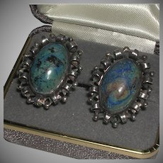 Vintage Lapis Cabachon Sterling Screw Back Earrings Taxco Mexico R signed