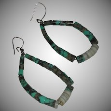 Vintage Turquoise Graduated Bead Hoop Dangle Earrings Pierced Earrings