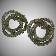 Silver Tone Faceted Rhinestone Entwined Circle Earrings Clip Kramer of NY marked