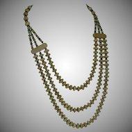 Vintage Bone Bead Three Strand Bib Style Necklace