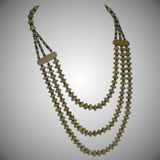 Vintage Bone Bead Three Strand Bib Style Necklace