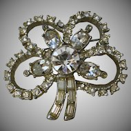 Clover Shaped Dimensional Faceted Rhinestone Pin Brooch