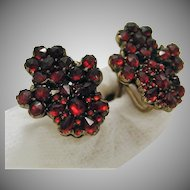 Bohemian Red Garnet Screw Back Earrings Sterling Gilt marked