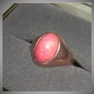Victorian 11k Rose Gold Ring Pink Coral Oval Stone Open Backed marked