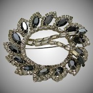 Clear and Gray Faceted Prong Set Rhinestone Circle Pin c. 1950s