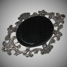 Classic Very Old Sterling Marcasite Onyx Pin Brooch Old Clasp c. 1900