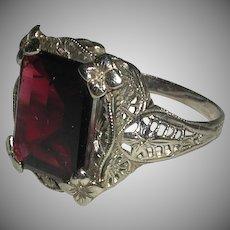 Art Deco 14 Karat White Gold Filigree Garnet Ring Early 1900s