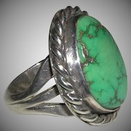 Early Native American Turquoise Sterling Ring 15 Grams Size 7 1/2 Unisex unmarked