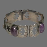 Sterling Amethyst Cabachon Hinged Incised Cuff Bracelet marked Made in Mexico