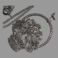 Art Deco Sterling Marcasite Flower Basket Pendant Chain Necklace c. 1915-30 marked