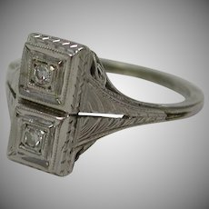 Unique Art Deco 14k White Gold Filigree Two Diamond Engagement Cocktail Ring