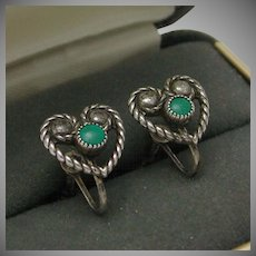 Sterling Turquoise Heart Shaped Screw Back Earrings Native American pre-1950s marked