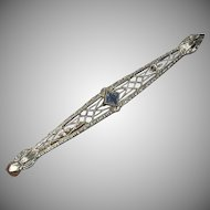 Edwardian Platinum 14k Yellow Gold Blue Faceted Stone Bar Pin marked 1890 – early 1900s