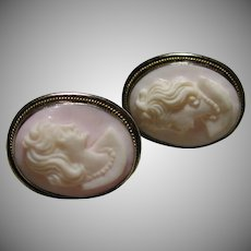 Sterling White Pink Shell Cameo Screw Back Earrings unmarked early 1900s