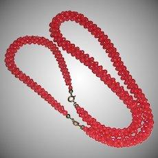 Art Deco Coral Beads Demi-Parure Woven Necklace Bracelet c. 1920s