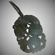 Vintage Green Translucent Jade Jadeite Hand Carved Fruit Motif Pendant Necklace
