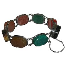 Vintage Original Scarab Carved Semi Precious Stones Sterling Bracelet marked Silver