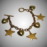 Vintage Puffy Heart Star Gold Tone Charm Bracelet