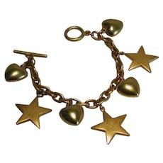 Vintage Puffy Heart Star Gold Tone Charm Bracelet