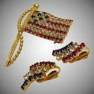 "Vintage Patriotic Flag ""Old Glory"" Pin and Clip On Earrings Set c.1950s/60s"