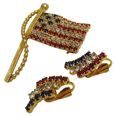 """Vintage Patriotic Flag """"Old Glory"""" Pin and Clip On Earrings Set c.1950s/60s"""