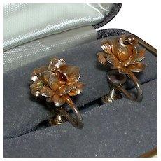 Vintage Floral Screw Back Earrings 1/20 12k Gold Filled marked c. 1940s