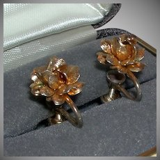 Vintage Floral Screw Back Earrings 1/20 12k Gold Filled marked c. 1940s