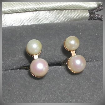 Vintage Tiny Stimulated Pearls Gold Tone Clamp Earrings Pat Pending 1969