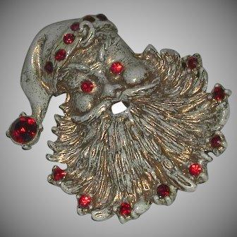 Vintage Enameled Rhinestone Christmas Santa Head Pin Brooch c. 1950