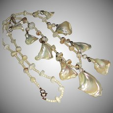 Vintage Polished Natural Mother of Pearl (MOP) Shell Necklace