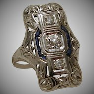 Platinum Diamond Sapphire Dinner Ring c. 1920