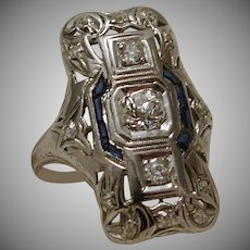 Platinum Diamond Sapphire Dinner Ring c. 1920