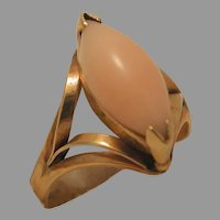 Vintage 14k Yellow Gold Pink Coral Ring marked