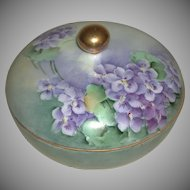 Hand Painted Porcelain Three Piece Hair Receiver Violets La Seynie Limoges PP France